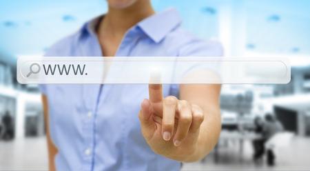 Businesswoman cliking on tactile interface web address bar