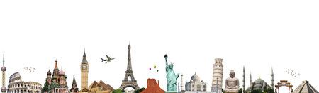 Monuments célèbres du monde illustrant le Voyage et vacances