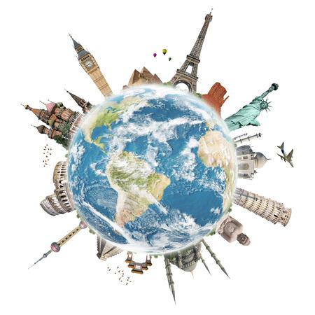 Slavné památky světa ilustrující cestování a dovolená