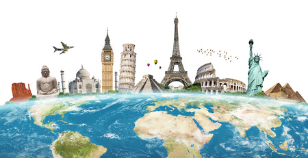 pise: Famous monuments of the world grouped together on the planet Earth