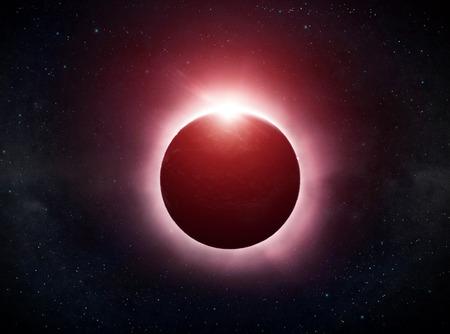 Zicht op de zon tijdens een volle maansverduistering