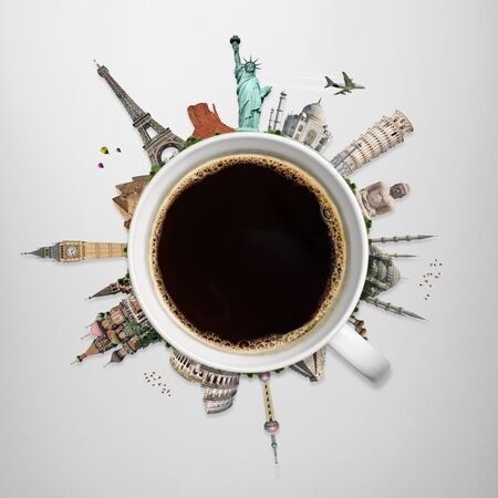 Famous monuments of the world surrounding a cup of coffee
