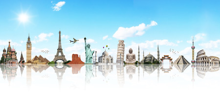 Famous monuments of the world illustrating the travel and holidays 스톡 콘텐츠