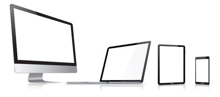 Modern digital tech device on white background photo