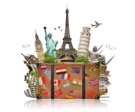 Beroemde monumenten van de wereld gegroepeerd in een koffer Stockfoto