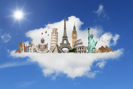 grouped: Famous monuments of the world grouped together on a cloud Stock Photo