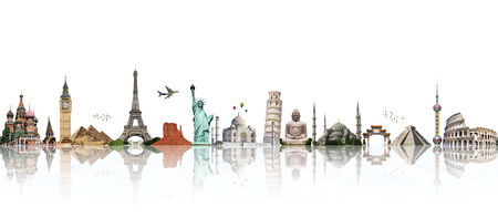 Famous monuments of the world illustrating the travel and holidays 免版税图像 - 38827596
