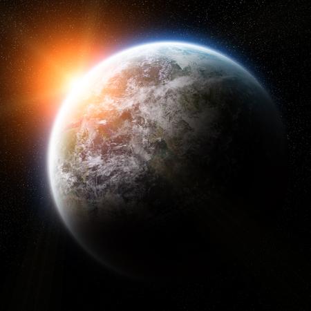 planeten: Blick auf den Planeten Erde aus dem Weltraum in einem Sonnenaufgang