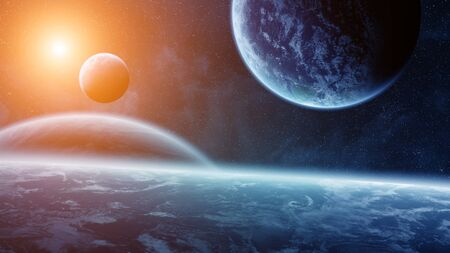 armageddon: View of planets from space during a sunrise