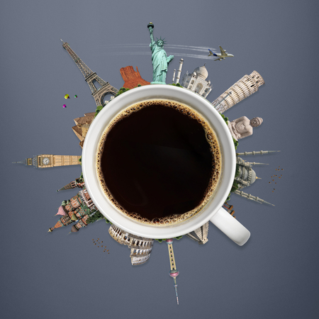 pise: Famous monuments of the world surrounding a cup of coffee