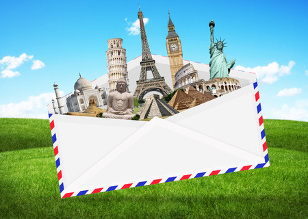 grouped: Famous monuments of the world grouped together in an envelope