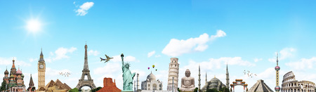illustrating: Famous monuments of the world illustrating the travel and holidays Stock Photo