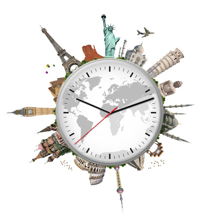 Famous monuments of the world surrounding a clock
