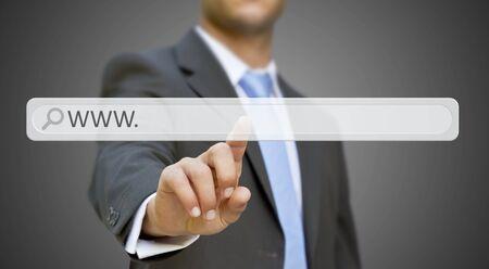 address bar: Businessman cliking on tactile interface web address bar