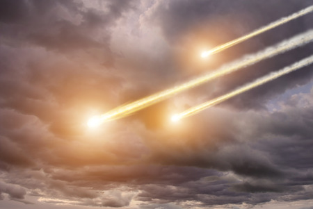 meteorites: View of meteorites impact Stock Photo
