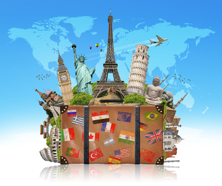grouped: Famous monuments of the world grouped together in a suitcase