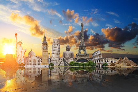 illustration of famous monuments of the world aligned on a beach at sunset