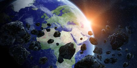 impact: View of the planet Earth from space during meteorite impact