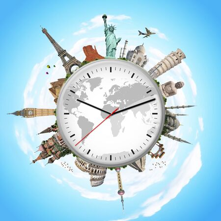 pise: Famous monuments of the world surrounding a clock