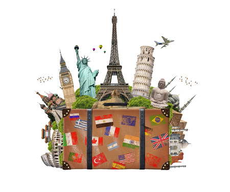 Famous monuments of the world grouped together in a suitcase
