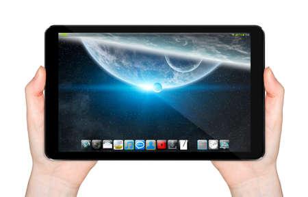 tactile: Modern digital tactile tablet on white background