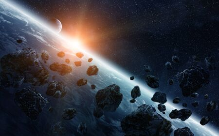 fantasy alien: View of the planet Earth from space during meteorite impact