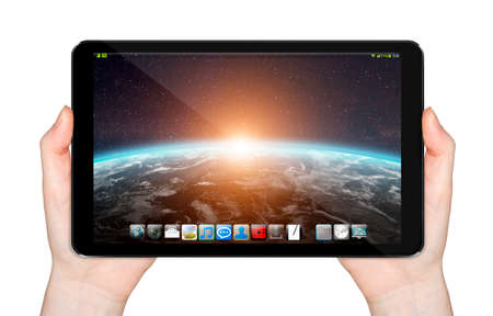 tactile: Modern digital tactile tablet on white background