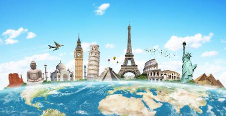 Beroemde monumenten van de wereld bij elkaar gegroepeerd op de planeet Aarde
