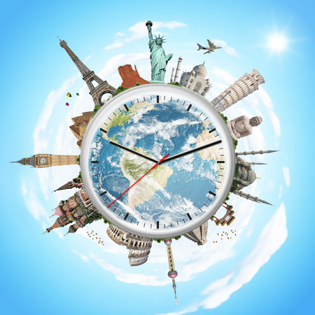 world travel: Famous monuments of the world surrounding a clock