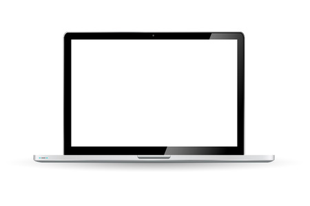Modern digital black computer on white background Stock Photo