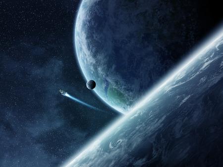 atmosfere: Veduta di pianeti da spazio durante un tramonto