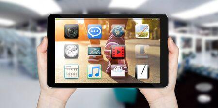 tactile: Modern digital tactile tablet on blured office background Stock Photo