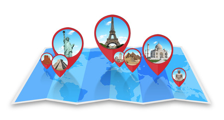 Famous monuments of the world grouped together on a map with pin icon photo