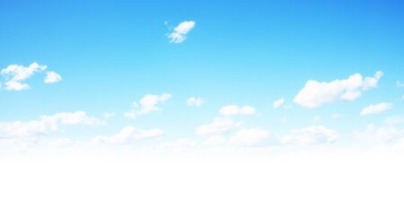Beautiful blue sky with fluffy clouds and sun