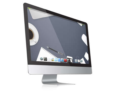 Modern digital computer device on white background photo