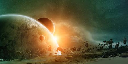 Vue de la planète Terre depuis l'espace lors d'un lever de soleil Banque d'images - 41656864