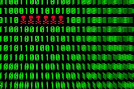 pirating: Red virus alert in a green binary code Stock Photo