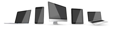 白い背景に現代デジタル技術装置