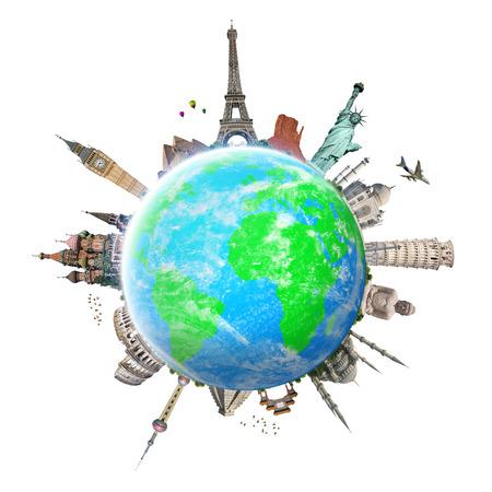 Beroemde monumenten van de wereld gegroepeerd op de planeet aarde