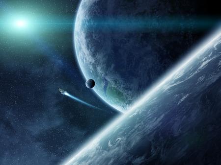 raumschiff: Ansicht von Planeten aus dem Weltraum bei einem Sonnenaufgang Lizenzfreie Bilder