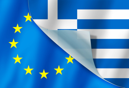 close together: Greece and Europe flag close together