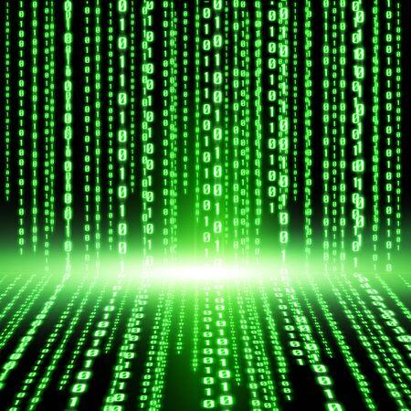 pirating: Green lines representing a digital binary code Stock Photo