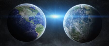 ex: View of the planet Earth from space close to an ex planet