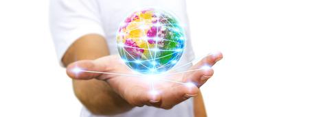 Man die digitale wereld verbonden met zijn vingers