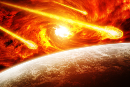 end of world: Red black hole sucking up the planet Earth Stock Photo
