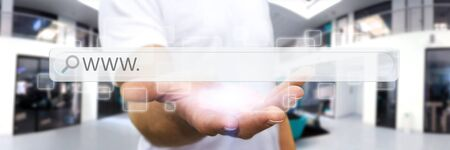address bar: Man using tactile interface web address bar