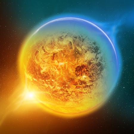 calentamiento global: Efecto del calentamiento global en el planeta Tierra vista desde el espacio