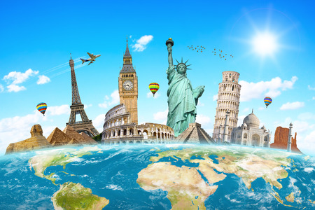 Famous monuments of the world grouped together on planet Earth Stock fotó
