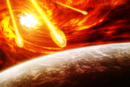 the end of the world: Red black hole sucking up the planet Earth Stock Photo