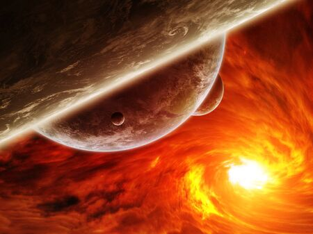 end of the world: Red black hole sucking up the planet Earth Stock Photo